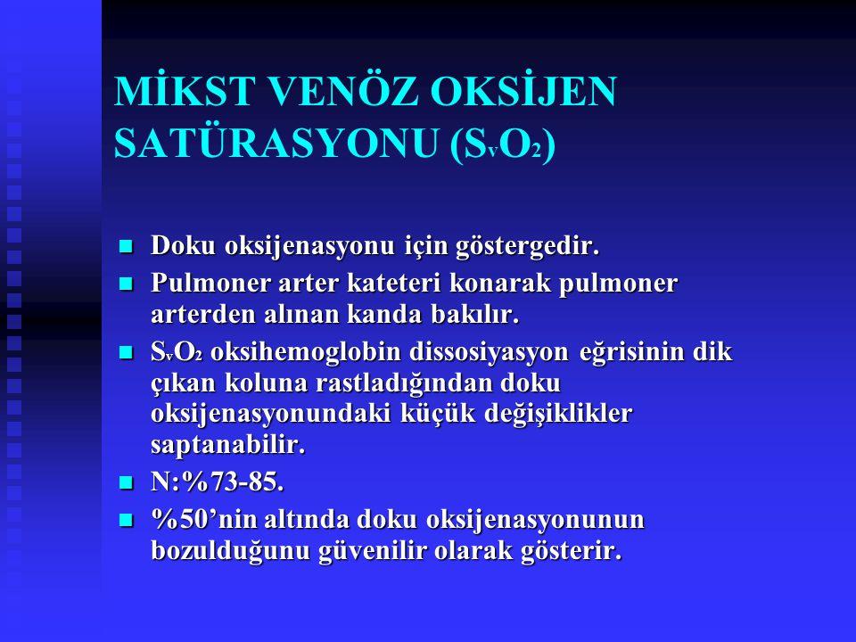 MİKST VENÖZ OKSİJEN SATÜRASYONU (S v O 2 ) Doku oksijenasyonu için göstergedir.