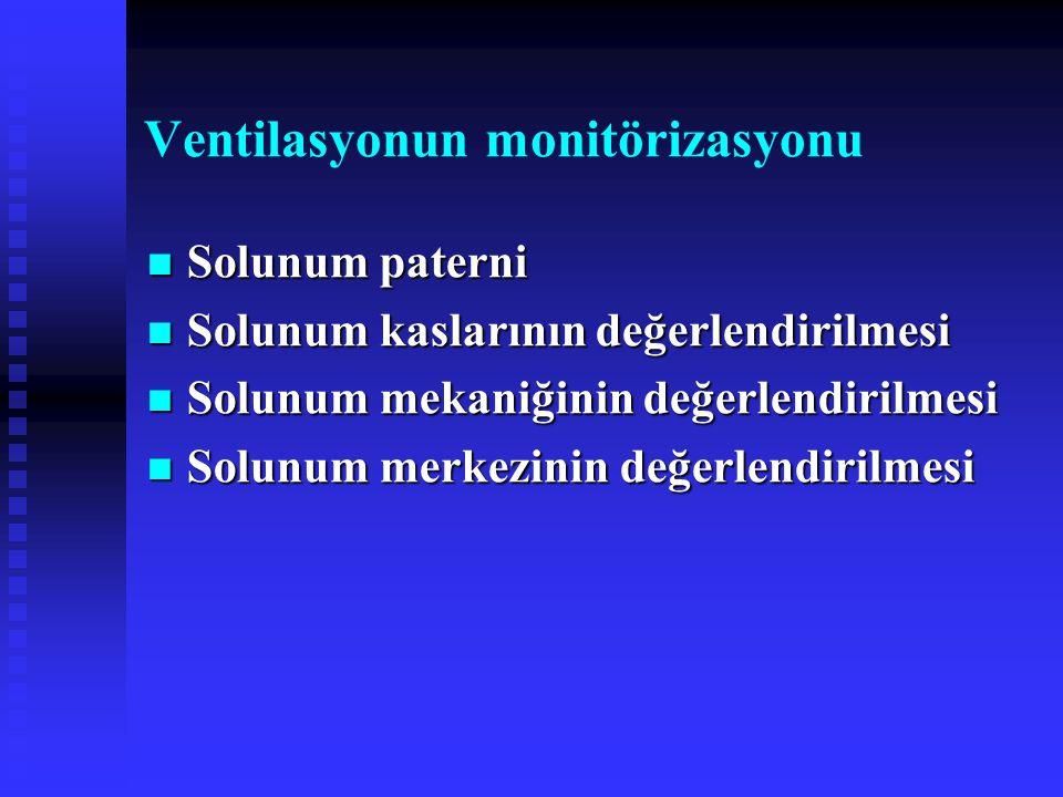 Ventilasyonun monitörizasyonu Solunum paterni Solunum paterni Solunum kaslarının değerlendirilmesi Solunum kaslarının değerlendirilmesi Solunum mekaniğinin değerlendirilmesi Solunum mekaniğinin değerlendirilmesi Solunum merkezinin değerlendirilmesi Solunum merkezinin değerlendirilmesi