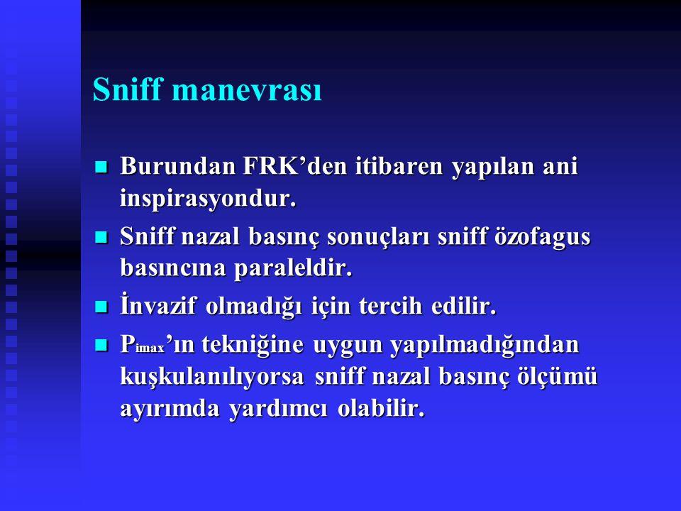 Sniff manevrası Burundan FRK'den itibaren yapılan ani inspirasyondur. Burundan FRK'den itibaren yapılan ani inspirasyondur. Sniff nazal basınç sonuçla