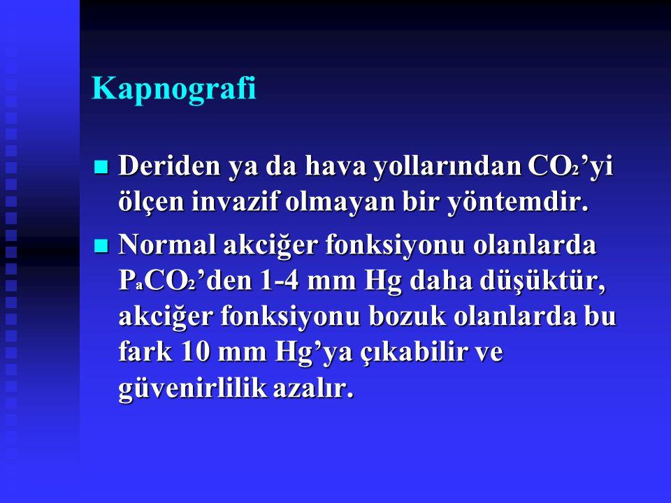 Kapnografi Deriden ya da hava yollarından CO 2 'yi ölçen invazif olmayan bir yöntemdir. Deriden ya da hava yollarından CO 2 'yi ölçen invazif olmayan