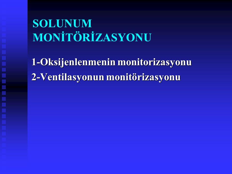 SOLUNUM MONİTÖRİZASYONU 1-Oksijenlenmenin monitorizasyonu 2-Ventilasyonun monitörizasyonu