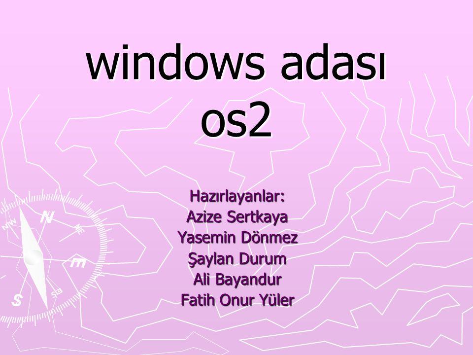 windows adası os2 Hazırlayanlar: Azize Sertkaya Yasemin Dönmez Şaylan Durum Ali Bayandur Fatih Onur Yüler