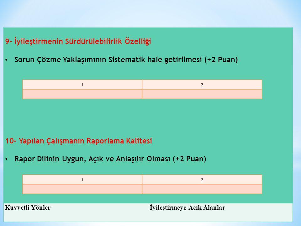 9- İyileştirmenin Sürdürülebilirlik Özelliği Sorun Çözme Yaklaşımının Sistematik hale getirilmesi (+2 Puan) 10- Yapılan Çalışmanın Raporlama Kalitesi