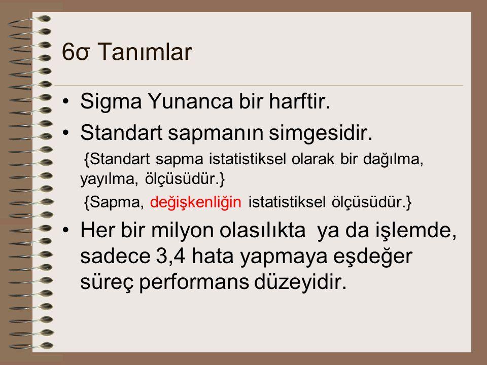 6σ Tanımlar Sigma Yunanca bir harftir. Standart sapmanın simgesidir. {Standart sapma istatistiksel olarak bir dağılma, yayılma, ölçüsüdür.} {Sapma, de