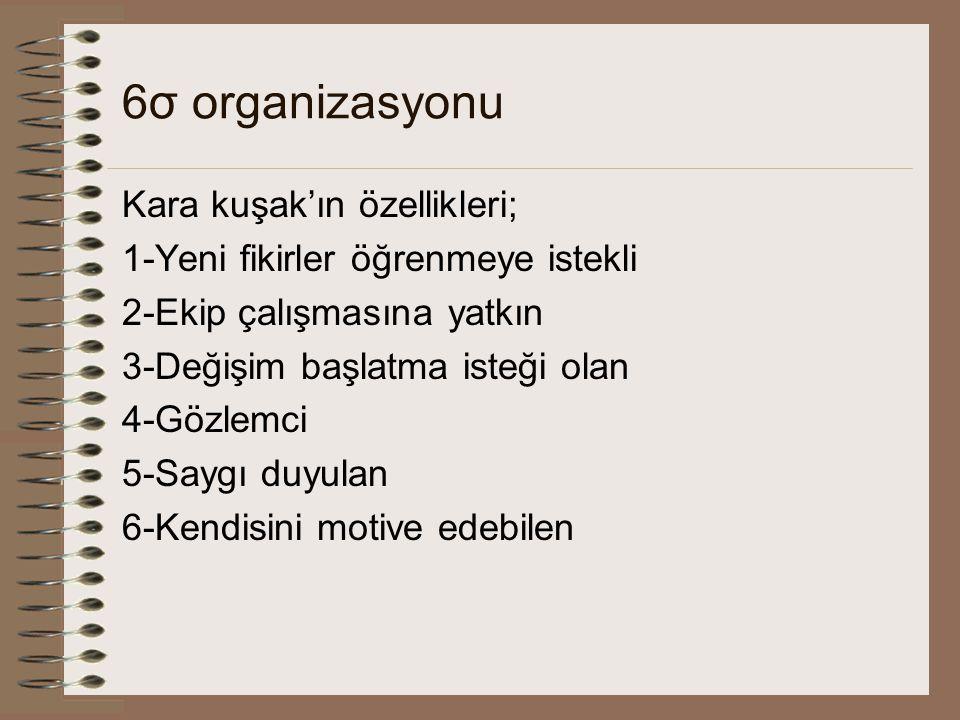 6σ organizasyonu Kara kuşak'ın özellikleri; 1-Yeni fikirler öğrenmeye istekli 2-Ekip çalışmasına yatkın 3-Değişim başlatma isteği olan 4-Gözlemci 5-Saygı duyulan 6-Kendisini motive edebilen