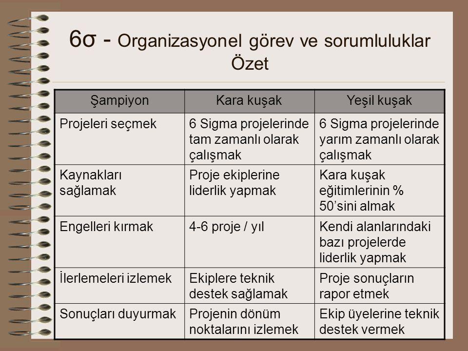 6σ - Organizasyonel görev ve sorumluluklar Özet ŞampiyonKara kuşakYeşil kuşak Projeleri seçmek6 Sigma projelerinde tam zamanlı olarak çalışmak 6 Sigma