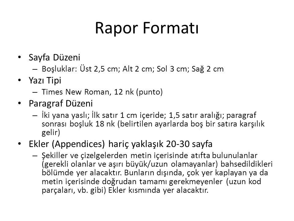 Rapor Formatı Sayfa Düzeni – Boşluklar: Üst 2,5 cm; Alt 2 cm; Sol 3 cm; Sağ 2 cm Yazı Tipi – Times New Roman, 12 nk (punto) Paragraf Düzeni – İki yana yaslı; İlk satır 1 cm içeride; 1,5 satır aralığı; paragraf sonrası boşluk 18 nk (belirtilen ayarlarda boş bir satıra karşılık gelir) Ekler (Appendices) hariç yaklaşık 20-30 sayfa – Şekiller ve çizelgelerden metin içerisinde atıfta bulunulanlar (gerekli olanlar ve aşırı büyük/uzun olamayanlar) bahsedildikleri bölümde yer alacaktır.