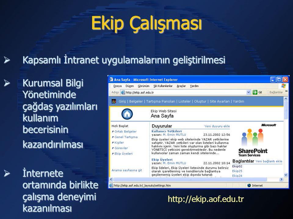  Kapsamlı İntranet uygulamalarının geliştirilmesi  Kurumsal Bilgi Yönetiminde çağdaş yazılımları kullanım becerisinin kazandırılması  İnternete ortamında birlikte çalışma deneyimi kazanılması Ekip Çalışması http://ekip.aof.edu.tr