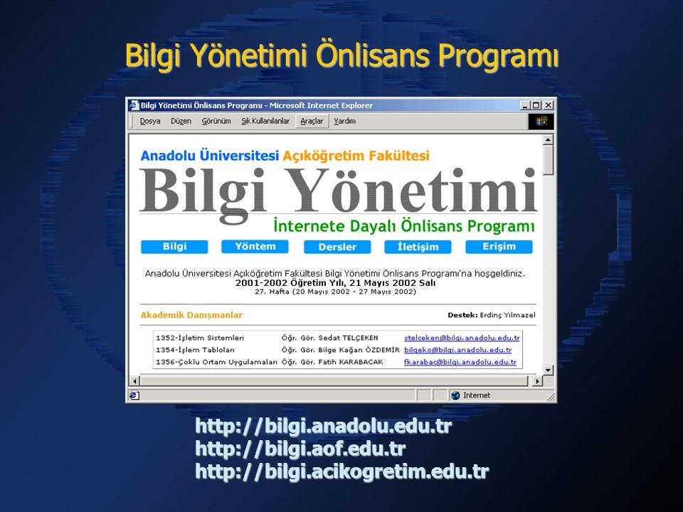 İnternet Ortamındaki Dersler İnternet Ortamındaki Dersler CD-ROM Ortamındaki Videolar CD-ROM Ortamındaki Videolar Yardımcı Kitaplar Yardımcı Kitaplar Yazılımlar Yazılımlar Akademik Danışmanlık Hizmeti Akademik Danışmanlık Hizmeti İletişim Hizmetleri İletişim Hizmetleri Erişim Hizmetleri Erişim Hizmetleri Ödevler Ödevler Sınavlar Sınavlar Destek Hizmetleri Destek Hizmetleri Kullanılan Eğitim Araçları