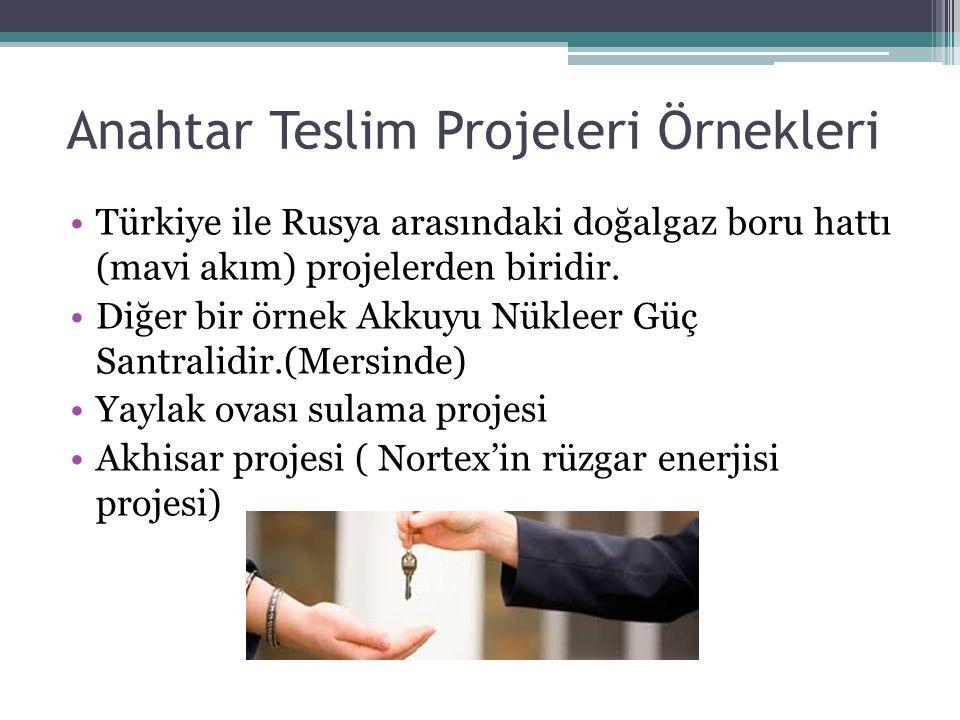 Anahtar Teslim Projeleri Örnekleri Türkiye ile Rusya arasındaki doğalgaz boru hattı (mavi akım) projelerden biridir. Diğer bir örnek Akkuyu Nükleer Gü