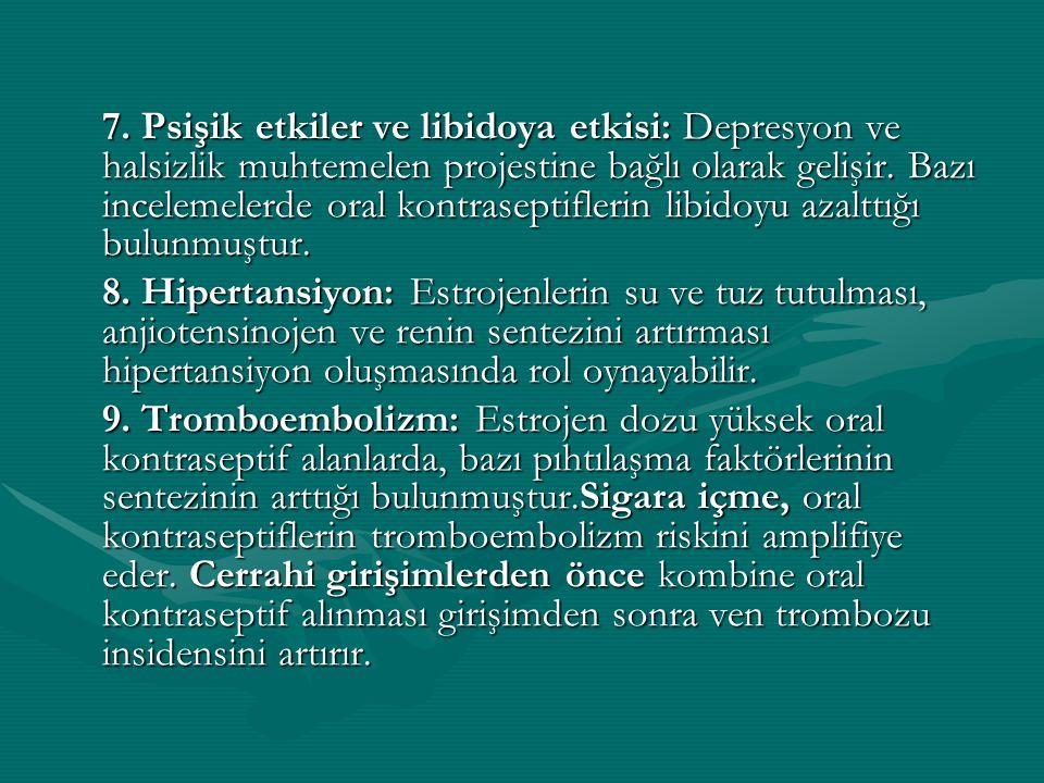 7. Psişik etkiler ve libidoya etkisi: Depresyon ve halsizlik muhtemelen projestine bağlı olarak gelişir. Bazı incelemelerde oral kontraseptiflerin lib