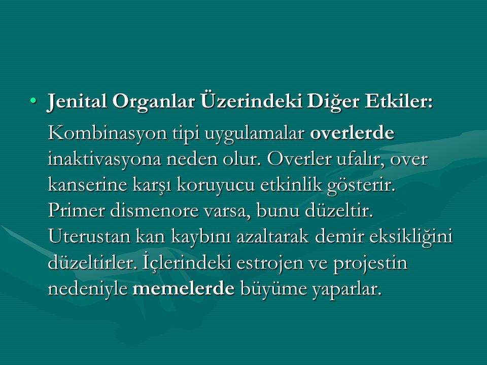 Jenital Organlar Üzerindeki Diğer Etkiler:Jenital Organlar Üzerindeki Diğer Etkiler: Kombinasyon tipi uygulamalar overlerde inaktivasyona neden olur.