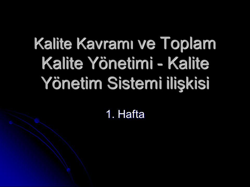 Kalite Kavramı ve Toplam Kalite Yönetimi - Kalite Yönetim Sistemi ilişkisi 1. Hafta