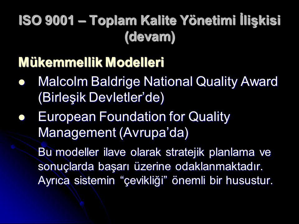ISO 9001 – Toplam Kalite Yönetimi İlişkisi (devam) Mükemmellik Modelleri Malcolm Baldrige National Quality Award (Birleşik Devletler'de) Malcolm Baldr