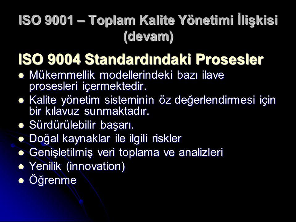ISO 9001 – Toplam Kalite Yönetimi İlişkisi (devam) ISO 9004 Standardındaki Prosesler Mükemmellik modellerindeki bazı ilave prosesleri içermektedir. Mü