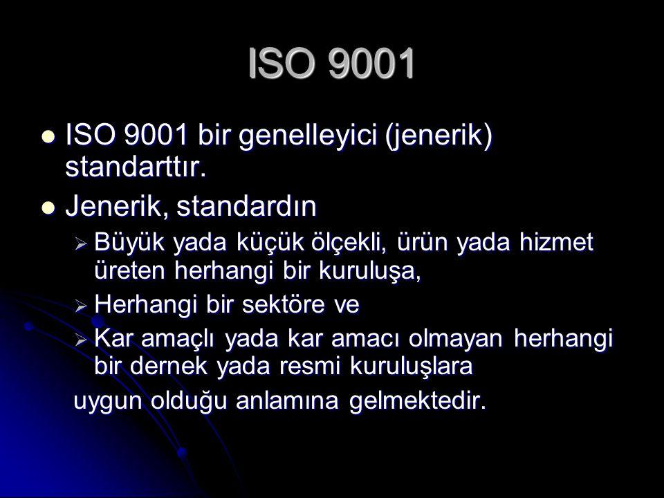 ISO 9001 ISO 9001 bir genelleyici (jenerik) standarttır. ISO 9001 bir genelleyici (jenerik) standarttır. Jenerik, standardın Jenerik, standardın  Büy