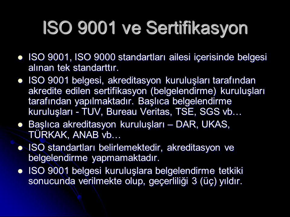 ISO 9001 ve Sertifikasyon ISO 9001, ISO 9000 standartları ailesi içerisinde belgesi alınan tek standarttır. ISO 9001, ISO 9000 standartları ailesi içe