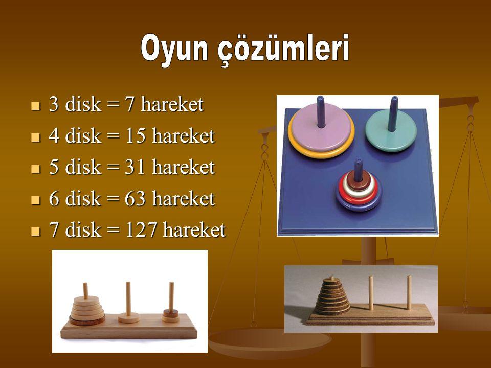 3 disk = 7 hareket 4 disk = 15 hareket 5 disk = 31 hareket 6 disk = 63 hareket 7 disk = 127 hareket