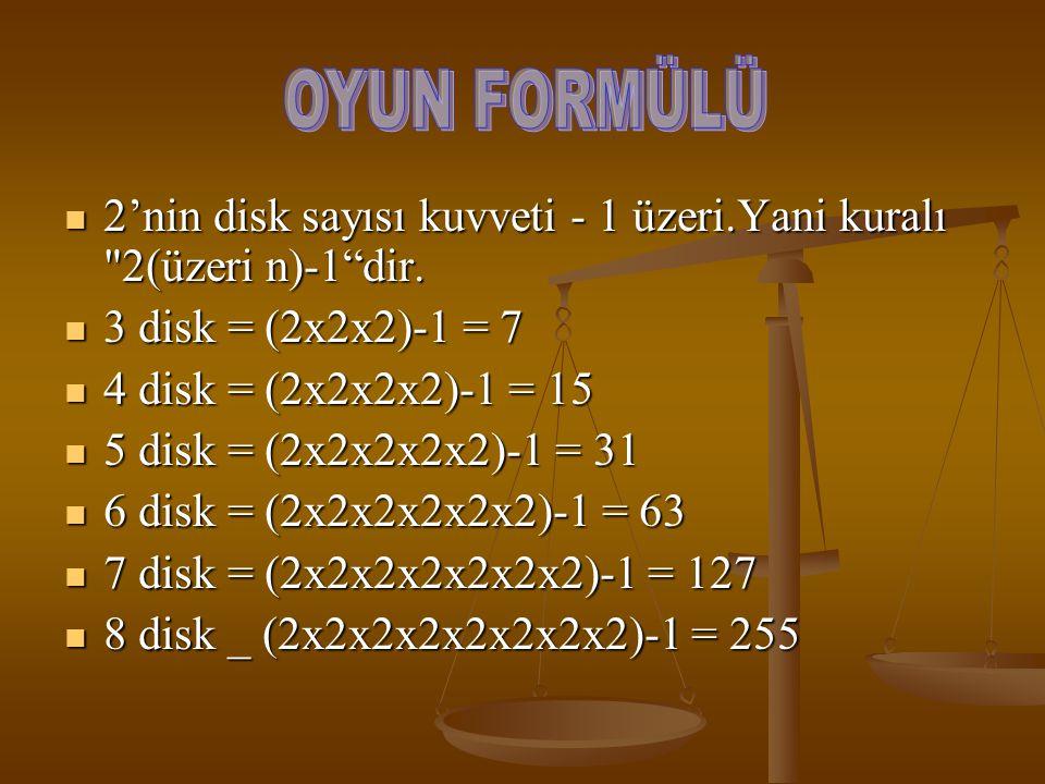 2'nin disk sayısı kuvveti - 1 üzeri.Yani kuralı 2(üzeri n)-1 dir.