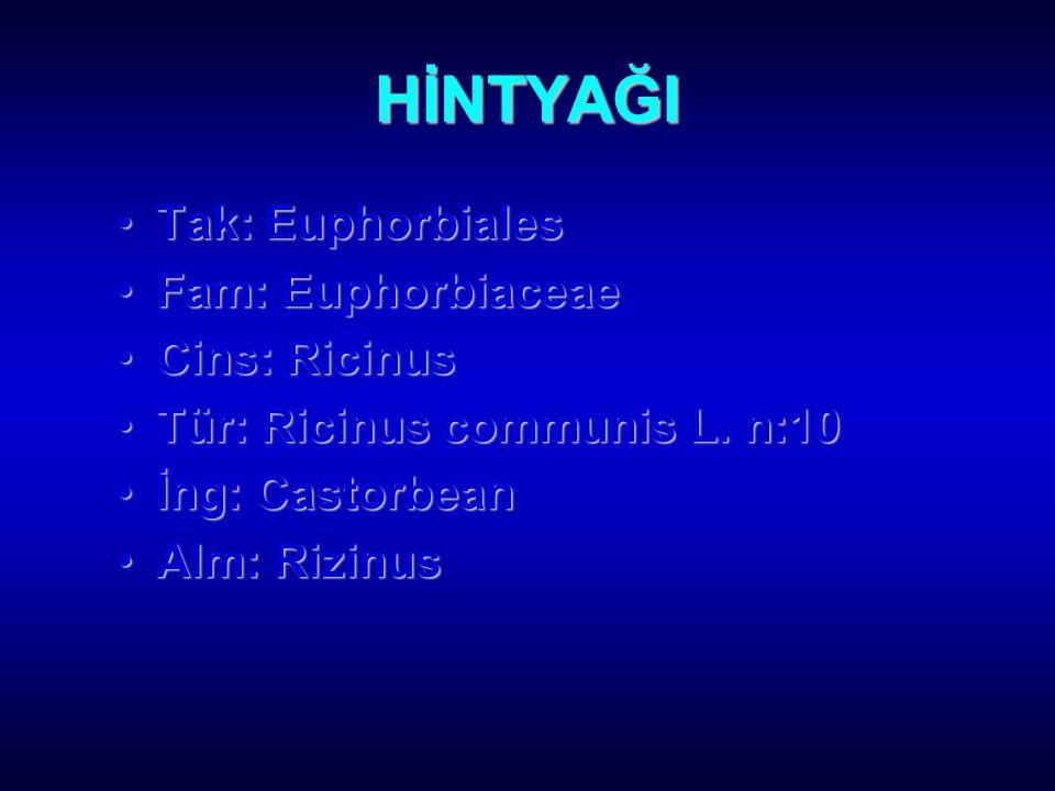 HİNTYAĞI Tak: EuphorbialesTak: Euphorbiales Fam: EuphorbiaceaeFam: Euphorbiaceae Cins: RicinusCins: Ricinus Tür: Ricinus communis L.