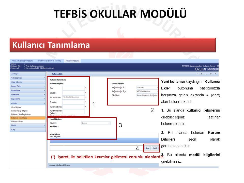 TEFBİS OKULLAR MODÜLÜ Kullanıcı Tanımlama Yeni kullanıcı kaydı için Kullanıcı Ekle butonuna bastığınızda karşınıza gelen ekranda 4 (dört) alan bulunmaktadır.
