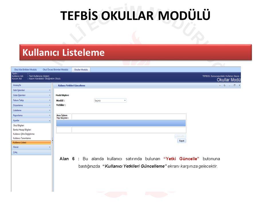 TEFBİS OKULLAR MODÜLÜ Kullanıcı Listeleme Alan 6 : Bu alanda kullanıcı satırında bulunan Yetki Güncelle butonuna bastığınızda Kullanıcı Yetkileri Güncelleme ekranı karşınıza gelecektir.