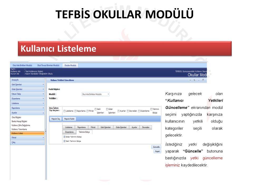 TEFBİS OKULLAR MODÜLÜ Kullanıcı Listeleme Karşınıza gelecek olan Kullanıcı Yetkileri Güncelleme ekranından modül seçimi yaptığınızda karşınıza kullanıcının yetkili olduğu kategoriler seçili olarak gelecektir.