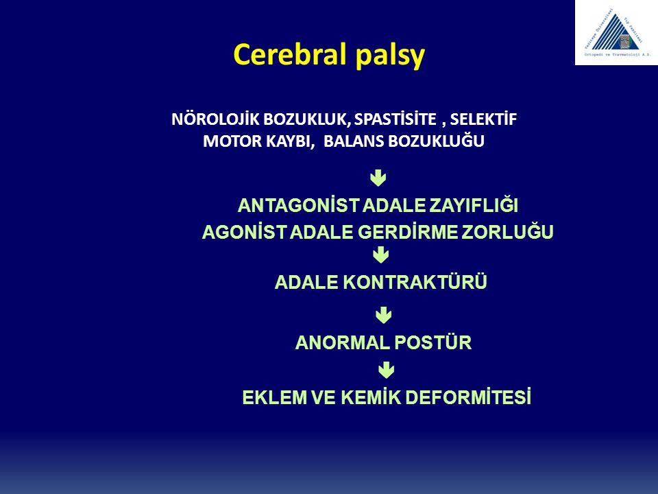 Cerebral palsy NÖROLOJİK BOZUKLUK, SPASTİSİTE, SELEKTİF MOTOR KAYBI, BALANS BOZUKLUĞU  ANTAGONİST ADALE ZAYIFLIĞI AGONİST ADALE GERDİRME ZORLUĞU  AD