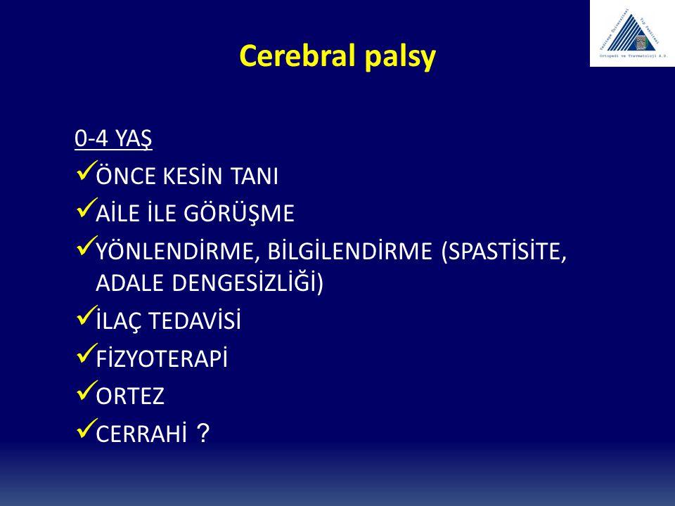 Cerebral palsy 0-4 YAŞ ÖNCE KESİN TANI AİLE İLE GÖRÜŞME YÖNLENDİRME, BİLGİLENDİRME (SPASTİSİTE, ADALE DENGESİZLİĞİ) İLAÇ TEDAVİSİ FİZYOTERAPİ ORTEZ CE