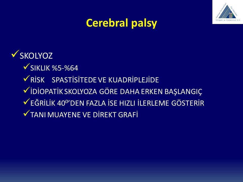 Cerebral palsy SKOLYOZ SIKLIK %5-%64 RİSK SPASTİSİTEDE VE KUADRİPLEJİDE İDİOPATİK SKOLYOZA GÖRE DAHA ERKEN BAŞLANGIÇ EĞRİLİK 40 0 'DEN FAZLA İSE HIZLI
