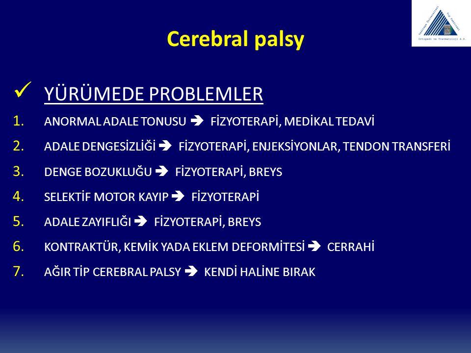 Cerebral palsy YÜRÜMEDE PROBLEMLER 1. ANORMAL ADALE TONUSU  FİZYOTERAPİ, MEDİKAL TEDAVİ 2. ADALE DENGESİZLİĞİ  FİZYOTERAPİ, ENJEKSİYONLAR, TENDON TR
