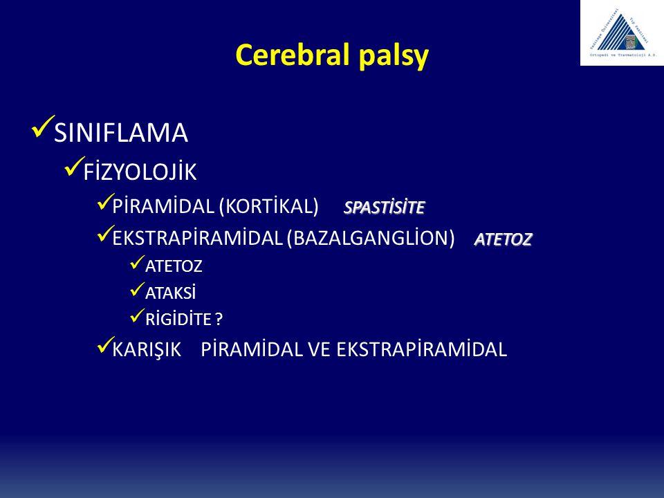 Cerebral palsy SINIFLAMA ANATOMİK HEMİPLEJİ DİPLEJİ KUADRİPLEJİ MONOPLEJİ TRİPLEJİ ÇİFT HEMİPLEJİ ?