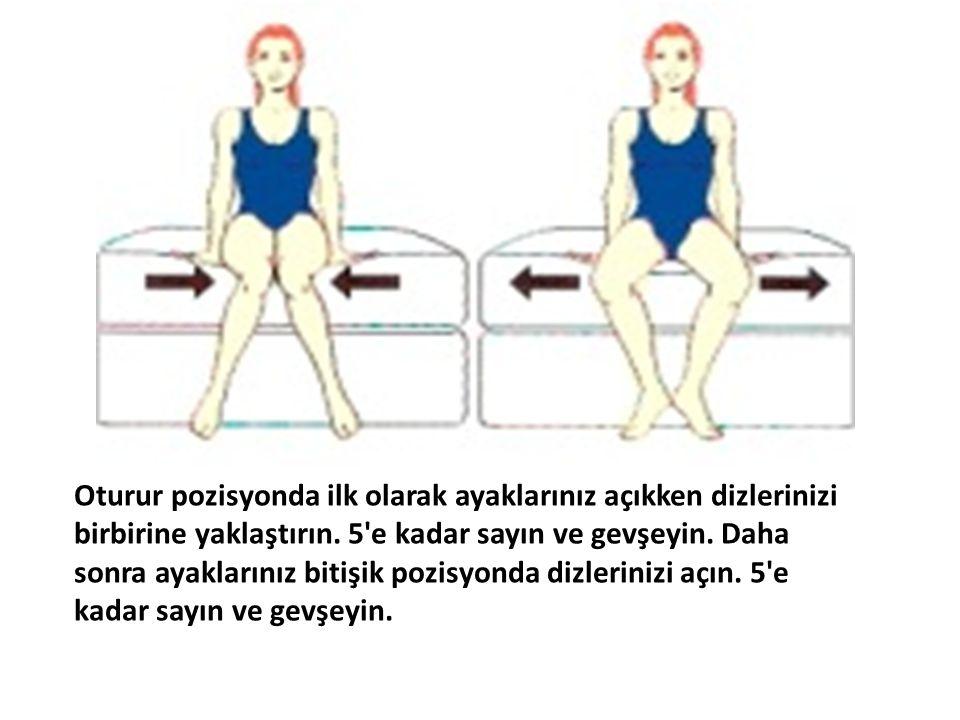 Oturur pozisyonda ilk olarak ayaklarınız açıkken dizlerinizi birbirine yaklaştırın. 5'e kadar sayın ve gevşeyin. Daha sonra ayaklarınız bitişik pozisy