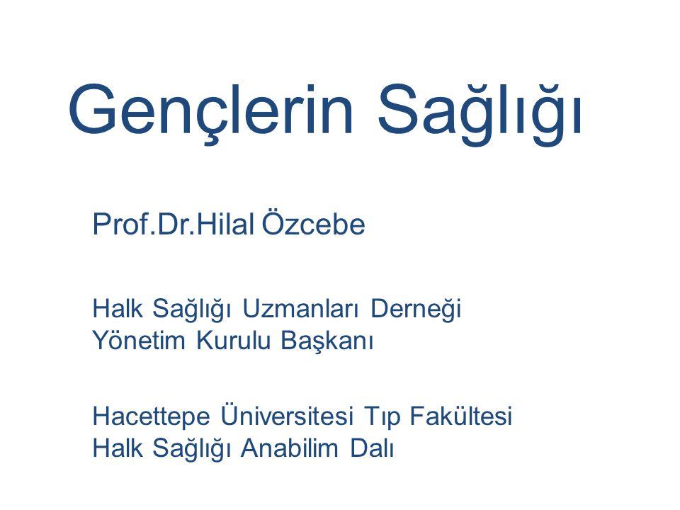 Gençlerin Sağlığı Prof.Dr.Hilal Özcebe Halk Sağlığı Uzmanları Derneği Yönetim Kurulu Başkanı Hacettepe Üniversitesi Tıp Fakültesi Halk Sağlığı Anabilim Dalı