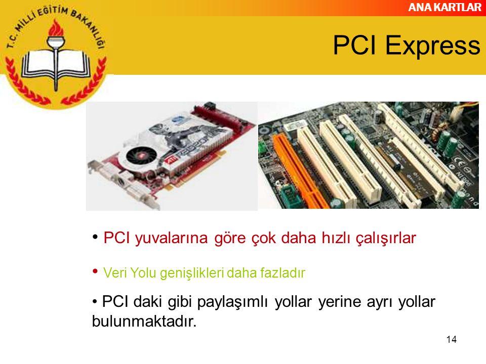 ANA KARTLAR 14 PCI Express PCI yuvalarına göre çok daha hızlı çalışırlar Veri Yolu genişlikleri daha fazladır PCI daki gibi paylaşımlı yollar yerine a