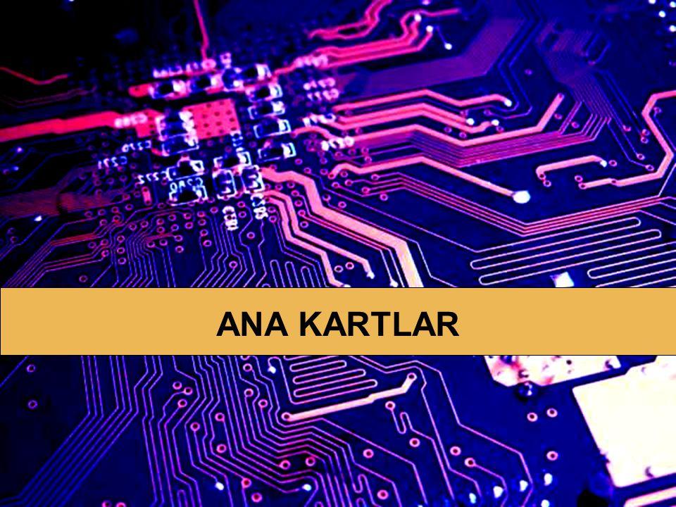 ANA KARTLAR 13 AGP Sadece ekran kartları için kullanılır PCI dan farkı: Grafik dokularını, ekran kartının belleğinin dışında RAM i de kullanarak işler.