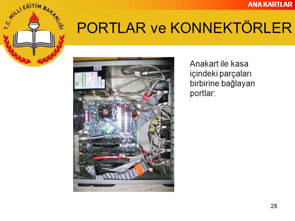 ANA KARTLAR 26 PORTLAR ve KONNEKTÖRLER Anakart ile kasa içindeki parçaları birbirine bağlayan portlar: