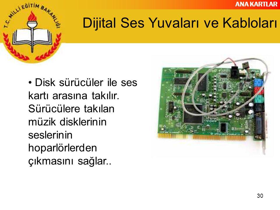 ANA KARTLAR 30 Dijital Ses Yuvaları ve Kabloları Disk sürücüler ile ses kartı arasına takılır.