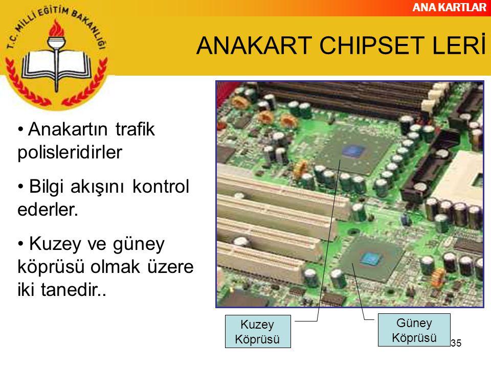ANA KARTLAR 35 ANAKART CHIPSET LERİ Anakartın trafik polisleridirler Bilgi akışını kontrol ederler. Kuzey ve güney köprüsü olmak üzere iki tanedir.. K
