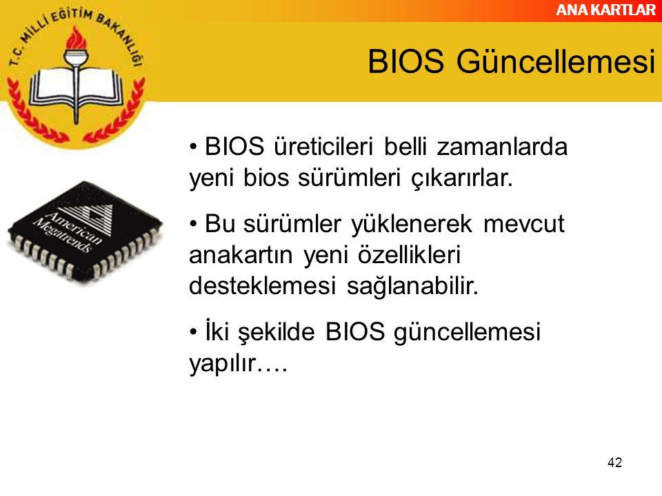 ANA KARTLAR 42 BIOS Güncellemesi BIOS üreticileri belli zamanlarda yeni bios sürümleri çıkarırlar.