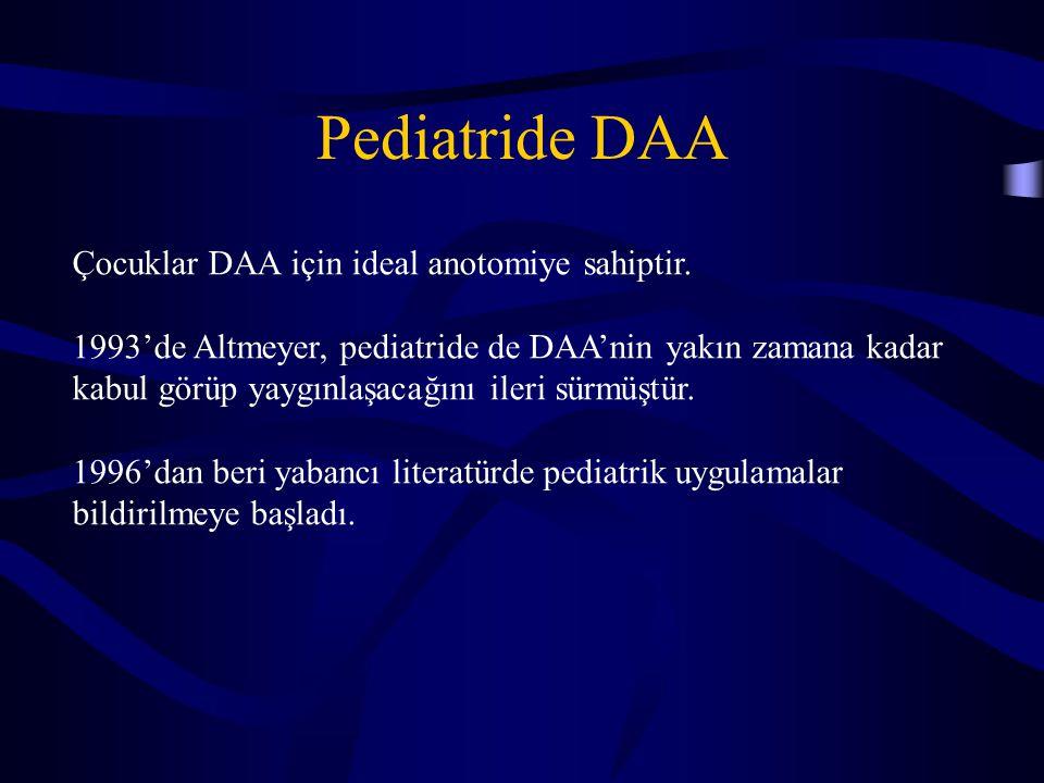 Pediatride DAA Çocuklar DAA için ideal anotomiye sahiptir. 1993'de Altmeyer, pediatride de DAA'nin yakın zamana kadar kabul görüp yaygınlaşacağını ile
