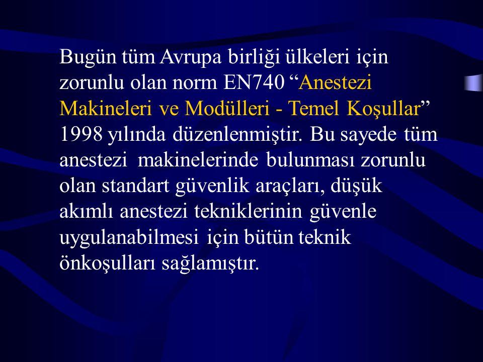 """Bugün tüm Avrupa birliği ülkeleri için zorunlu olan norm EN740 """"Anestezi Makineleri ve Modülleri - Temel Koşullar"""" 1998 yılında düzenlenmiştir. Bu say"""