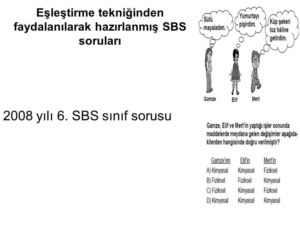 Eşleştirme tekniğinden faydalanılarak hazırlanmış SBS soruları 2008 yılı 6. SBS sınıf sorusu