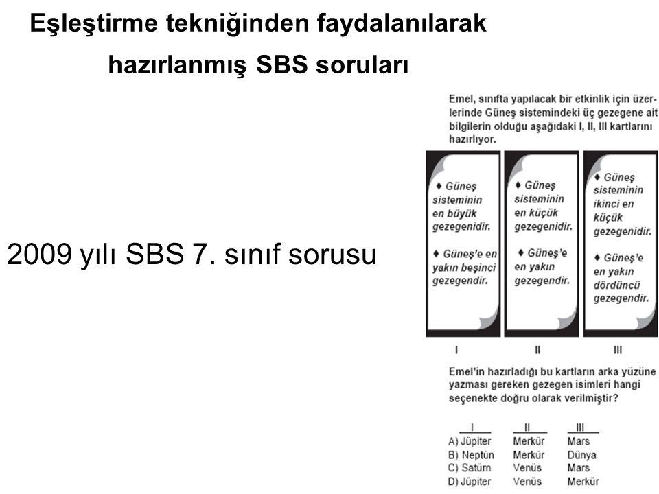 Eşleştirme tekniğinden faydalanılarak hazırlanmış SBS soruları 2009 yılı SBS 7. sınıf sorusu