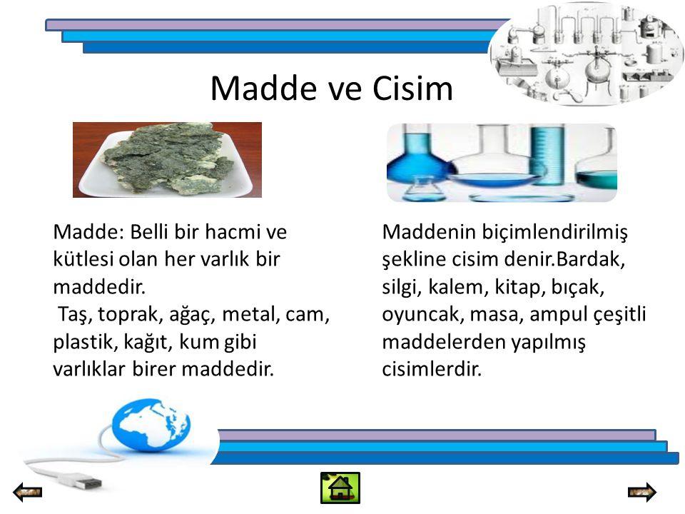 Madde ve Cisim Madde: Belli bir hacmi ve kütlesi olan her varlık bir maddedir.