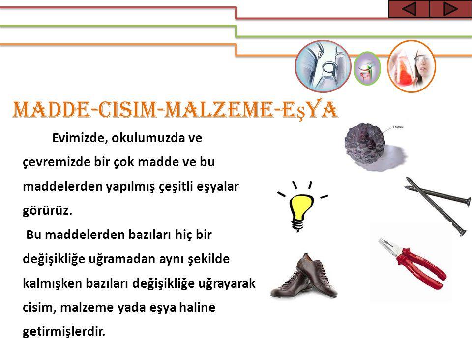 Madde-Cisim-Malzeme-E ş ya Evimizde, okulumuzda ve çevremizde bir çok madde ve bu maddelerden yapılmış çeşitli eşyalar görürüz. Bu maddelerden bazılar
