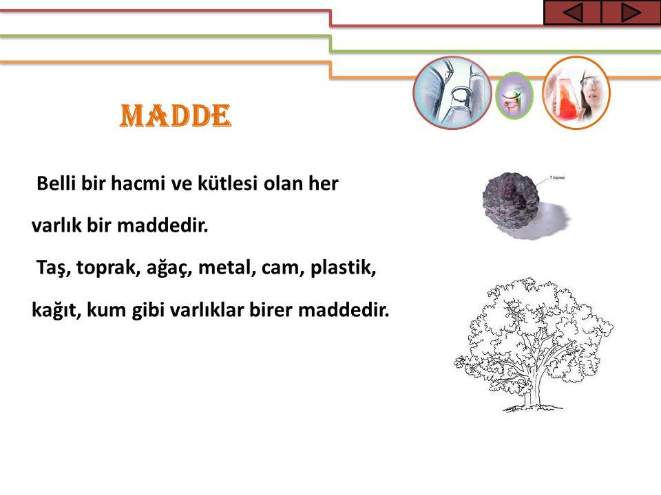 Belli bir hacmi ve kütlesi olan her varlık bir maddedir. Taş, toprak, ağaç, metal, cam, plastik, kağıt, kum gibi varlıklar birer maddedir. MADDE