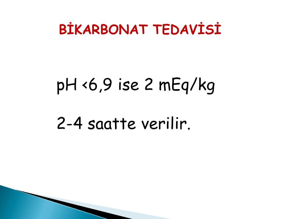 pH <6,9 ise 2 mEq/kg 2-4 saatte verilir. BİKARBONAT TEDAVİSİ