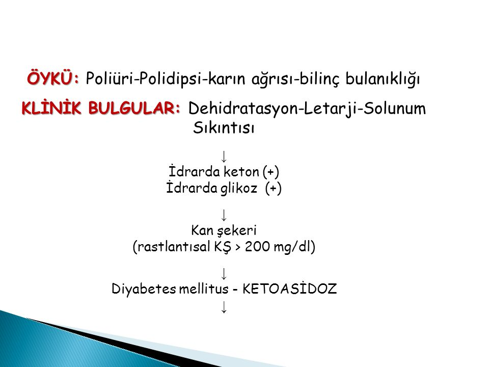 ÖYKÜ: ÖYKÜ: Poliüri-Polidipsi-karın ağrısı-bilinç bulanıklığı KLİNİK BULGULAR: KLİNİK BULGULAR: Dehidratasyon-Letarji-Solunum Sıkıntısı ↓ İdrarda keton (+) İdrarda glikoz (+) ↓ Kan şekeri (rastlantısal KŞ > 200 mg/dl) ↓ Diyabetes mellitus - KETOASİDOZ ↓