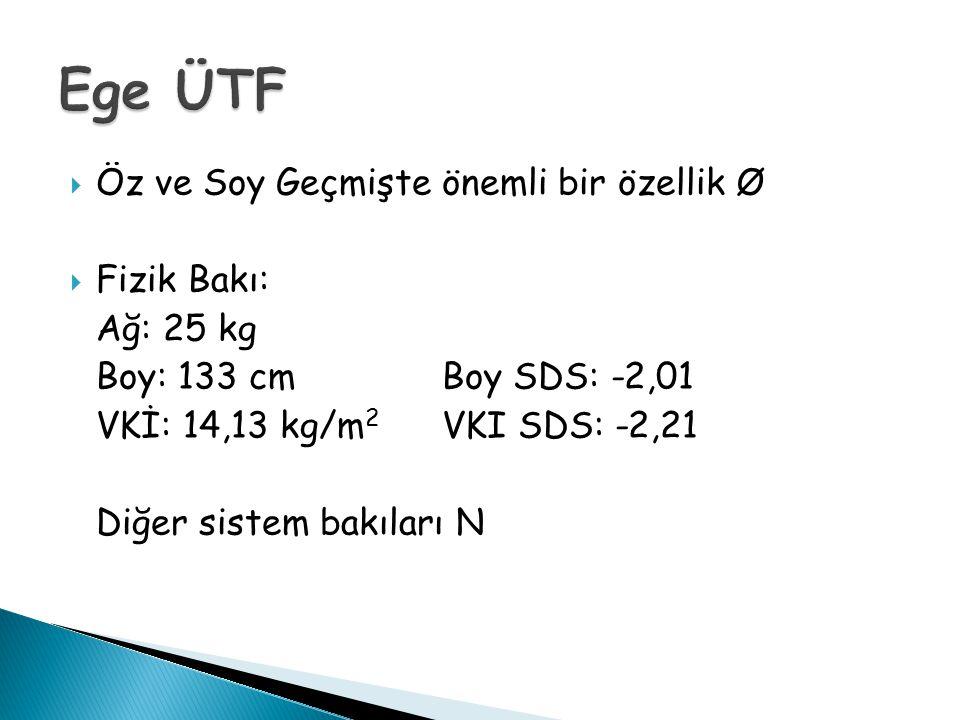  Öz ve Soy Geçmişte önemli bir özellik Ø  Fizik Bakı: Ağ: 25 kg Boy: 133 cm Boy SDS: -2,01 VKİ: 14,13 kg/m 2 VKI SDS: -2,21 Diğer sistem bakıları N